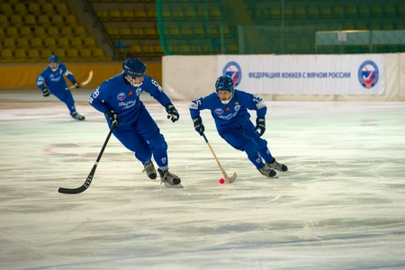 arbiter: MOSCOW - FEBRUARY 26, 2016: Janis Befus 15 in action during the Russian bandy league game Dynamo Moscow vs Zorky Krasnogorsk in sport palace Krilatskoe, Moscow, Russia. Dynamo won 9: 2