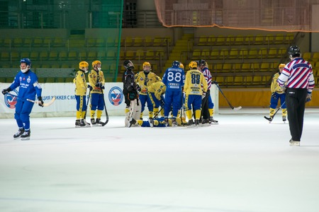 bandy: MOSCOW - FEBRUARY 26, 2016: Unidentified pleyers was injured on the Russian bandy league game Dynamo Moscow vs Zorky Krasnogorsk in sport palace Krilatskoe, Moscow, Russia. Dynamo won 9: 2 Editorial