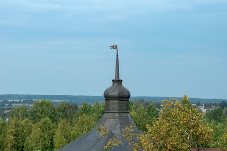The spire of the Kosaya Tower. Cyril-Belozersky monastery. Vologda region, Kirillov, Russia