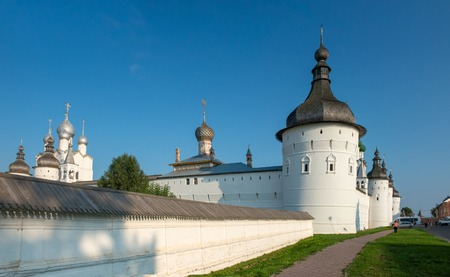 Summer view of medieval the Kremlin in Rostov the Great as part of The Golden Rings group of medieval towns of the northeast of Moscow, Russia. Included in World Heritage list of UNESCO.