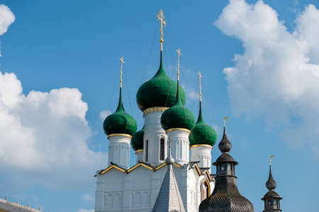 theologian: Summer view of the Church of St. John the theologian of the medieval Kremlin in Rostov the Great as part of The Golden Rings group of medieval towns of the northeast of Moscow, Russia.