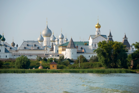Summer view from the Nero lake of the medieval Kremlin in Rostov the Great as part of The Golden Rings group of medieval towns of the northeast of Moscow, Russia. Included in the World Heritage list of UNESCO.