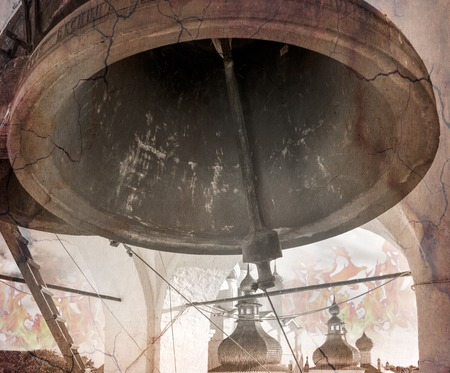 to chime: The bell is ringing the alarm. Photo stylized antique illustration