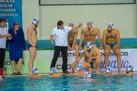MOSCOW - NOVEMBER 18, 2016: Timeout Dynamo at a Russia national championship water-polo game between Dynamo-Moscow (white) vs STORM-2002 (black) Dynamo won 10-6