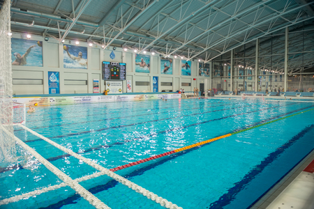 MOSCOW - NOVEMBER 18, 2016: Sport Swimming pool Dinamo during the match Dinamo Moscow vs STORM-2002 Russian Championships Waterpolo