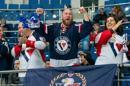 MOSCOW, RUSSIA - OCTOBER 12, 2016: Fans Slovan rejoice on hockey game Dynamo (Moscow) vs Slovan (Bratislava) on Russia KHL championship in VTB Arena Ice Palace Moscow, Russia. Slovan won 5: 3