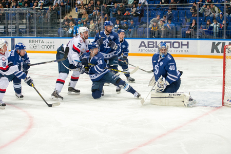 MOSCOW, RUSSIA - OCTOBER 12, 2016: Lazushin Alexander (40) on hockey game Dynamo (Moscow) vs Slovan (Bratislava) on Russia KHL championship in VTB Arena Ice Palace Moscow, Russia. Slovan won 5: 3