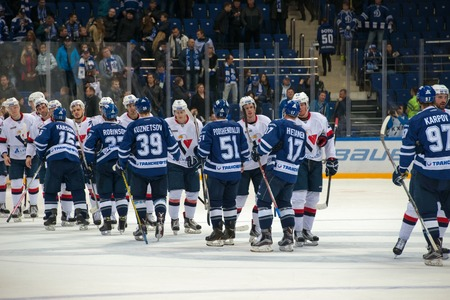 MOSCOW, RUSSIA - OCTOBER 12, 2016: Greetings Team after a hockey game Dynamo (Moscow) vs Slovan (Bratislava) on Russia KHL championship in VTB Arena Ice Palace Moscow, Russia. Slovan won 5: 3