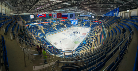 MOSCOW, RUSSIA - OCTOBER 12, 2016: Arena VTB Ice Palace before holding a hockey game Dynamo (Moscow) vs Slovan (Bratislava) on Russia KHL championship in VTB Arena Ice Palace Moscow, Russia. Slovan won 5: 3