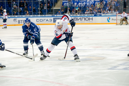 MOSCOW, RUSSIA - OCTOBER 12, 2016: Jonathan Cheechoo (18) on hockey game Dynamo (Moscow) vs Slovan (Bratislava) on Russia KHL championship in VTB Arena Ice Palace Moscow, Russia. Slovan won 5: 3