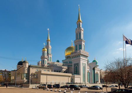 MOSCOW, RUSSIA - APRIL 01, 2017:Moscow Cathedral mosque — the main mosque of Moscow, one of the largest and highest mosque in Russia and Europe