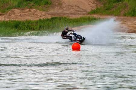 MOSCOW, RUSSIA - JULY 1, 2017: Nick Arhipov practice races on aquabike, in the Velyaminovo Race Weekend 2017, Motopark Velyaminovo, Istrinsky district Editorial
