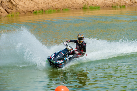 MOSCOW, RUSSIA - JULY 1, 2017: Nick Arhipov practice races on aquabike, in the Velyaminovo Race Weekend 2017, Motopark Velyaminovo, Istrinsky district Editorial