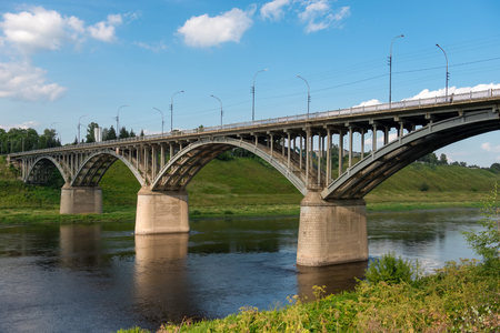 The view at the bridge across the Volga river in the town of Staritsa, Russia