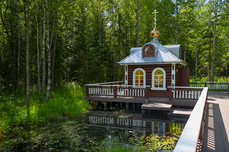 Volgoverkhovye Olginsky convent chapel over source Volga river Russia Tver region