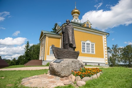 Monument to St. Nicholas the Wonderworker. Volgoverkhovye Olginsky convent. Tver Region. Source Volga river
