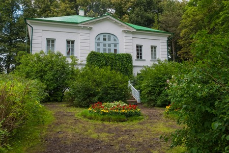Outbuilding of Kuzminsky. From 1859 to 1862 the school of Leo Tolstoy for peasant children. In the estate of Count Leo Tolstoy in Yasnaya Polyana in September 2017. Editorial
