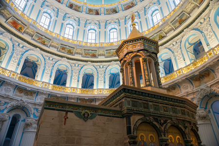 ISTRA, RUSSIA - JANUARY 3, 2017: chapel of the Holy Sepulchre in the Voskresensky New-Jerusalem Stavropegial male monastery, Istra, Moscow region