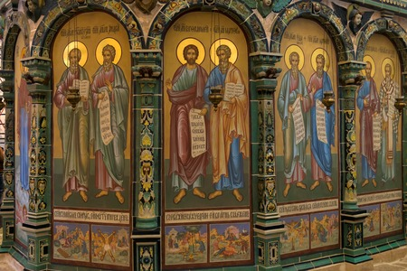 ISTRA, RUSSIA - JANUARY 3, 2017: Icons and wall paintings the chapel of the Holy Sepulchre in the Cathedral of the resurrection new Jerusalem monastery, Istra, Moscow region
