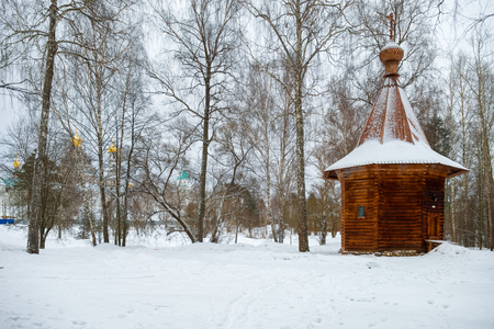 The Wooden chapel in the garden of Gethsemane. New Jerusalem monastery, Istra, Moscow region