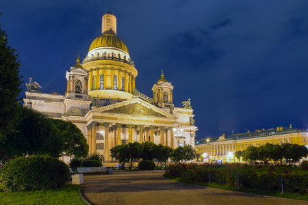 RUSSIA, SAINT PETERSBURG: St. Isaacs Cathedral on Isaac square in St. Petersburg, Russian Federation in a dark summer night