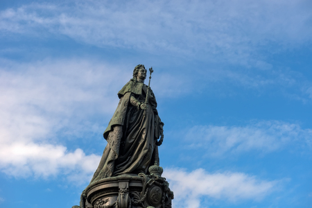 RUSSIA, SAINT PETERSBURG - AUGUST 18, 2017: A bronze monument to Catherine the Great on Ostrovsky Square in Catherine Square