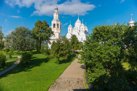 Church of the Ascension and bell tower of Saviour Priluki Monastery by cloud day near Vologda, Russia. Stock Photo