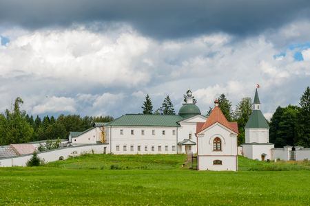 The Valdai Iversky Svyatoozersky Bogoroditsky Monastery. The Church of Jacob Borovichi and the Shrine of the Panajevs with the Chapel
