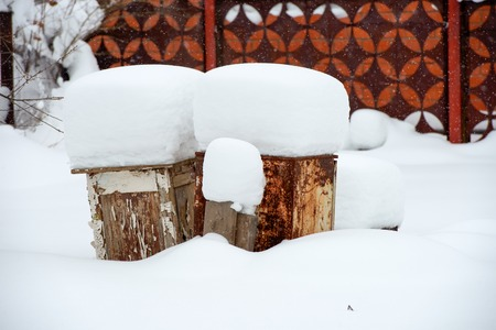 Objects covered with snow after a heavy snowfall