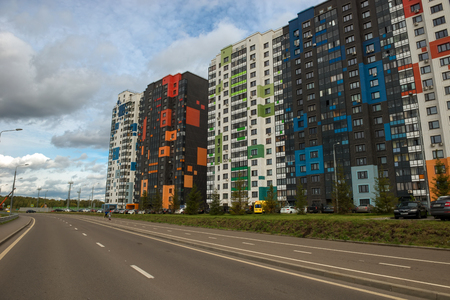 MOSCOW, RUSSIA - SEPTEMBER 30, 2018: New colorful apartment district My address is at 169, Dmitrovsky. Moscow, Dmitrovskoe highway Reklamní fotografie - 119700524