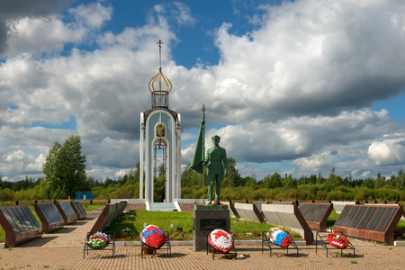 Novgorod region, Myasnoy Bor village, Russia - August 14, 2018: memorial and chapel in memory of soldiers and commanders of the Second Shock Army  killed in the Great Patriotic War