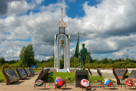 Novgorod region, Myasnoy Bor village, Russia - August 14, 2018: memorial and chapel in memory of soldiers and commanders of the Second Shock Army  killed in the Great Patriotic War Reklamní fotografie - 119700701