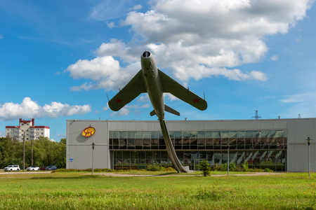 VELIKY NOVGOROD, RUSSIA - AUGUST 14, 2018: Monument to the Aviators of the Volkhov Front (Airplane). The MiG-17 aircraft with tail number 40. Established in 1985 on Bolshaya St. Petersburg Street, in honor of the feat of Ivan Petrovich Zhuravlev and his c Redakční