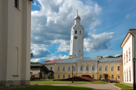 VELIKY NOVGOROD, RUSSIA - AUGUST 14, 2018: Likhud corps, Hour call and the building of the St John Corps (Vicars Corps) at sunny day in Veliky Novgorod, Russia. Architecture landscape Redakční