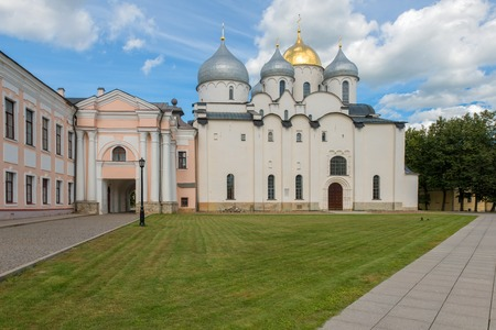 VELIKY NOVGOROD, RUSSIA - AUGUST 14, 2018: Sophia Russian Orthodox cathedral at sunny summer day in Veliky Novgorod, Russia. Architecture landscape of Orthodox landmark