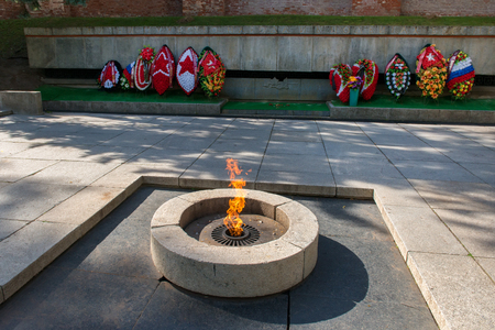 VELIKY NOVGOROD, RUSSIA - AUGUST 14, 2018: Memorial Eternal Flame of Glory in Veliky Novgorod is located on the territory of Novgorod Detinets