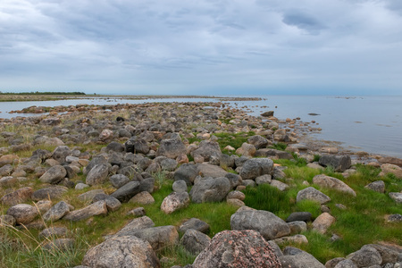 the Big Solovetsky island. The White Sea coast from large boulders