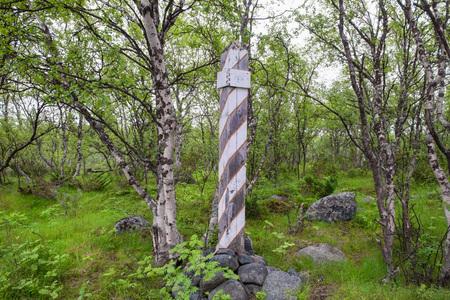 Milestone on the edge of the road in the forest. Muksalma Island. Solovetsky archipelago, White Sea Coast, Russia Reklamní fotografie - 122279957