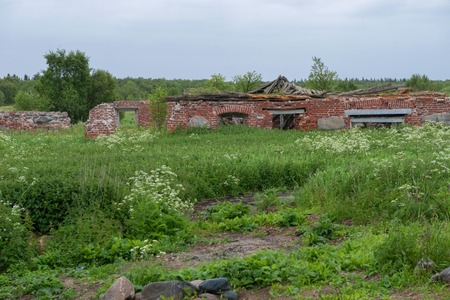 Ruins of buildings at the Sergievsky monastery on the island of Muksalm, Solovki islands, Arkhangelsk region, Russia Reklamní fotografie - 122280372