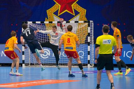 MOSCOW, RUSSIA - 30 MARCH, 2021. Dynamo Stadium. Goalkeeper Andreasen Soren Haagen (Gog) 74 in the match of 1/8 finals of the men's handball Europa League between CSKA (Moscow.Russia) and Gog (Denmark) Redactioneel