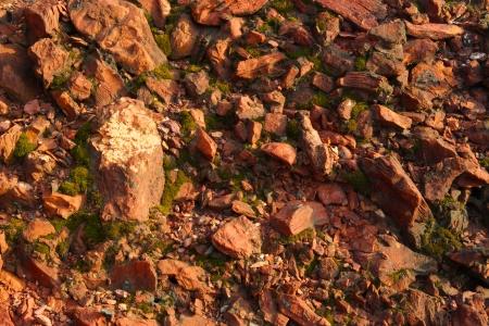 Red stones, rocks sunset light terikon october