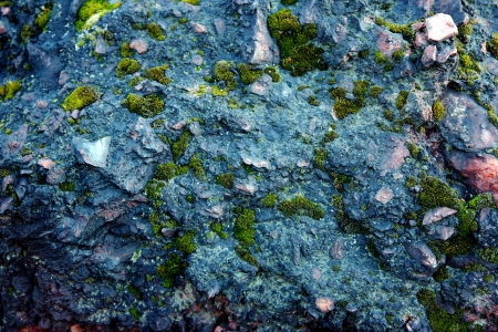Blue stones, rocks sunset light terikon, moss Stock Photo - 15626089