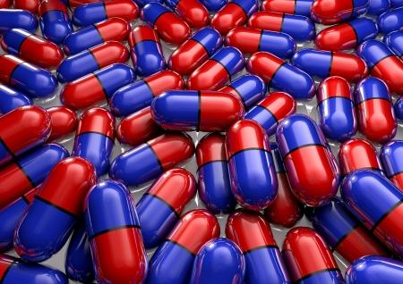pilule: rojo drogas bllue en vial aisladas sobre fondo blanco
