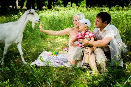 happy family together in park at day Stock Photo