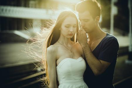 Man And Woman Sunset Sun Stock Photo