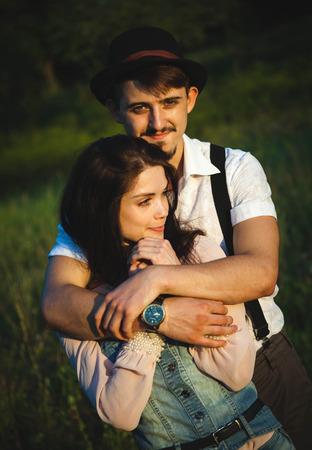 couple have fun on sunset