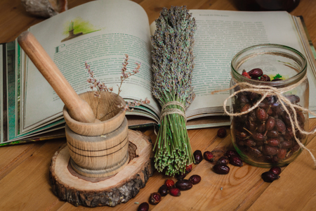 The composition of the tools of natural healing herbs and attributes.
