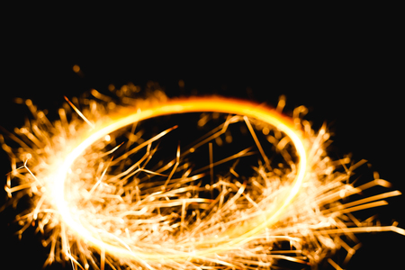 Burning circle with sparks