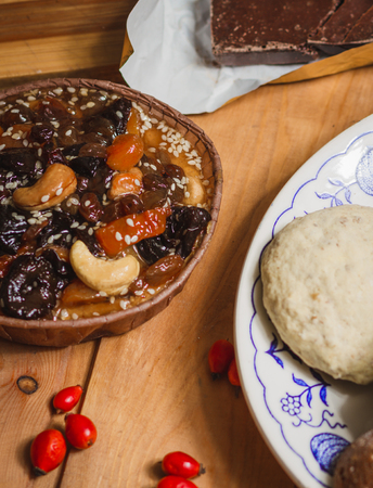 Homemade cakes of dried fruits and nuts