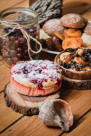 plate with cakes in saucers on wooden table